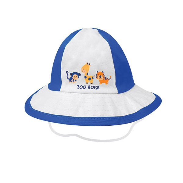 INFANT BUCKET HAT WITH ZOO ANIMALS BLUE