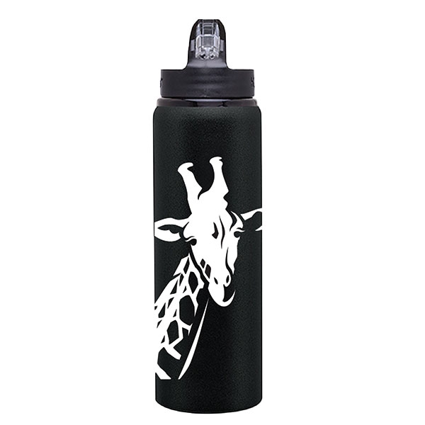 BLACK AND WHITE GIRAFFE WATER BOTTLE