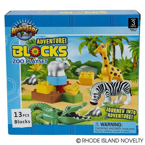 ADVENTURE BLOCKS ZOO PLAYSET 13PC